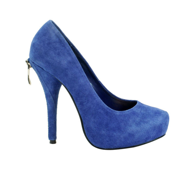 "4"" 1/2Platform W/ Zipper Covered Heel-Royal Blue Nubuck-PIN UP-7""1"