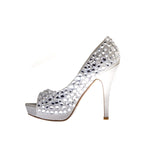 "4"" 1/2Diamond Encrusted Open Toe Pump-Silver Satin Genuine-PRECIOUS-4""00"