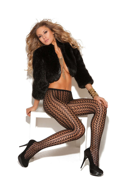 Pantyhose with feather design Black One Size