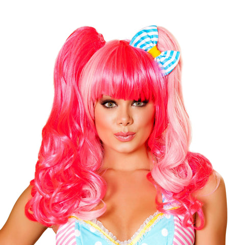 Pink Wig with - Bow