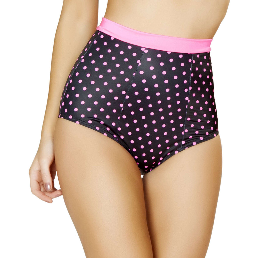 Pinup Style High-Waisted Banded Shorts - Black/Pink Polkadot