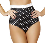 Pinup Style High-Waisted Banded Shorts - Black/White Polkadot