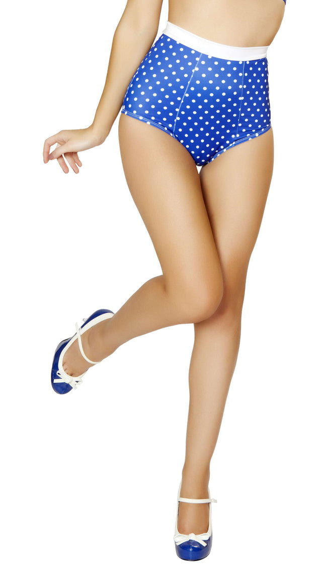 Pinup Style High-Waisted Banded Shorts - Blue/White Polkadot