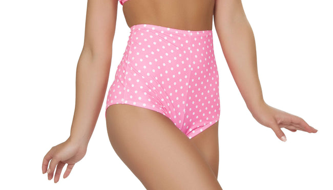 Pinup Style High-Waisted Shorts - Pink/White Polkadot