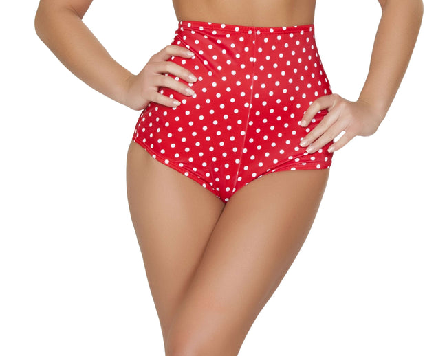 Pinup Style High-Waisted Shorts - Red/White Polkadot