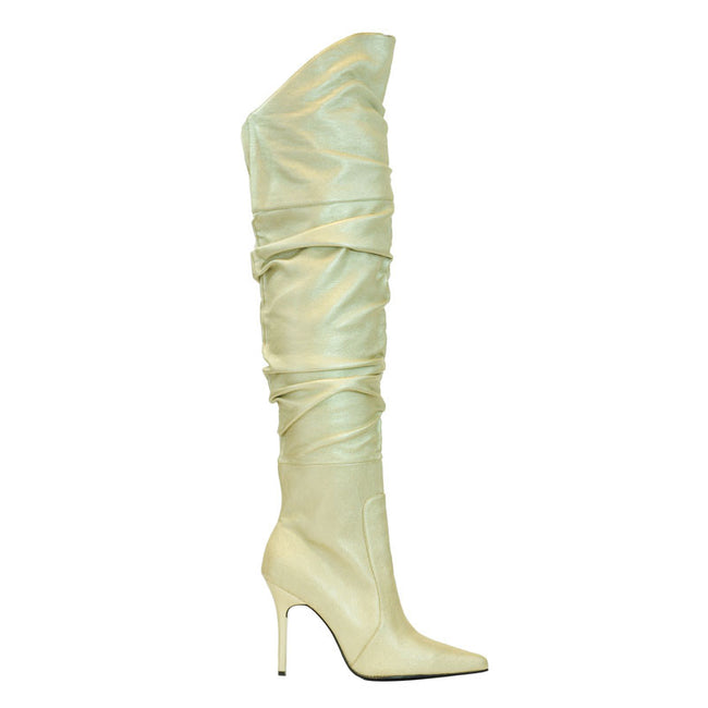 "4"" Thigh High Scrunch Boot On Our Classic Pump Construction"