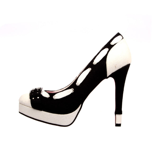 "5""Canvas Pump With Buckle Detail-Black/White Combo-REFEREE"
