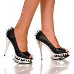"5"" Open Toe Pump With Metal Spikes And Detail On Topline"