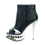 "5""Platform Ankle Bootie With Open Toe And Side Cut Out-Black Soft PU -ROCKIN-6""1"