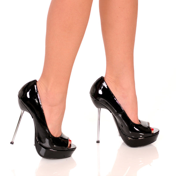"5""Micro Stiletto Steel Heel Open Toe Pump-Black Patent PU-ROXY-21"
