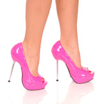 "5""Micro Stiletto Steel Heel Open Toe Pump-Fuchsia Patent PU-ROXY-21"
