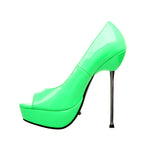 "5""Micro Stiletto Steel Heel Open Toe Pump-Neon Green Patent-ROXY-21"