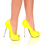 "5""Micro Stiletto Steel Heel Open Toe Pump-Neon Yellow Patent-ROXY-21"