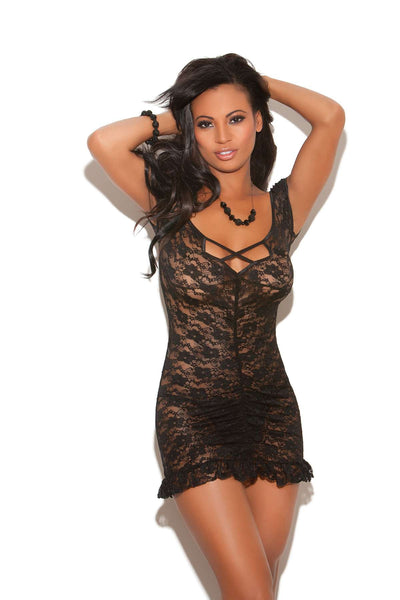 Ruched lace babydoll with criss cross front detail, cap sleeves,  ruffled trim and matching g-string Black
