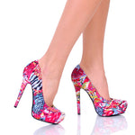 "4"" 1/2Multi Colored Fabric Pump With Covered Platform-Fuchsia Fabric-SADE-11"