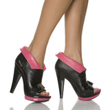 "5""Open Toe Ankle Bootie With Buckle And Cuff-Black Kid PU-SASHA-103"""