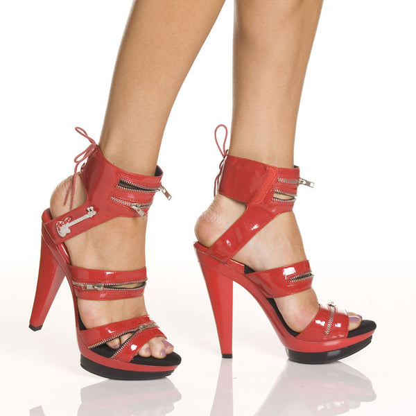 "5""Platform With Zippered Upper And Guitar Ornament-Red Patent PU -SASHA-104"""