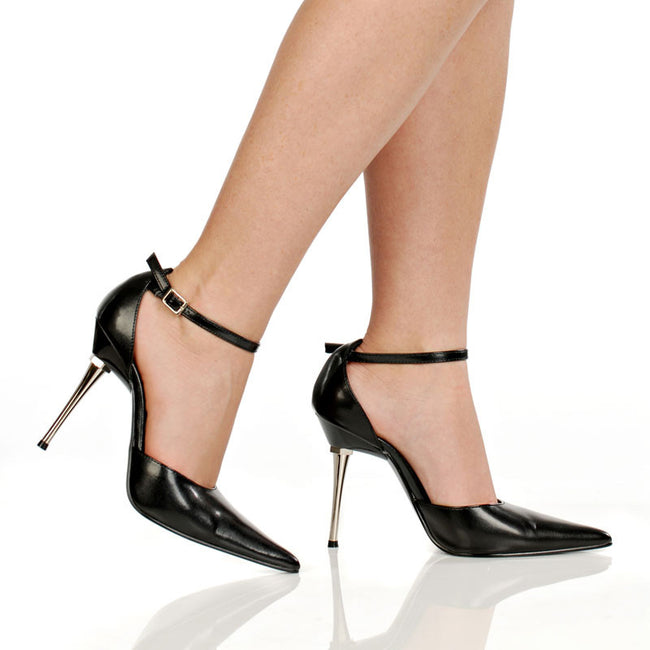 "4"" Steel Stiletto Heel D-Orsay Pointed Toe Pump"