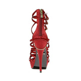 "5""Rhinestone Strippy Sandal With Skull Ornament-Red Satin Genuine-SOPHIA-11"