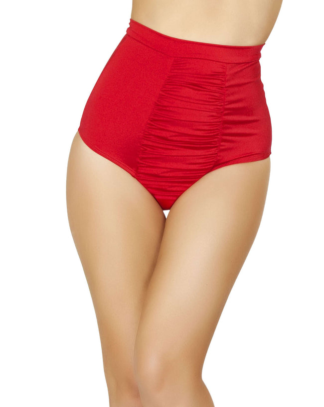 Scrunch Front Shorts w/Band - Red