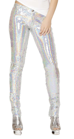 Sequin Button Front Pants - Silver