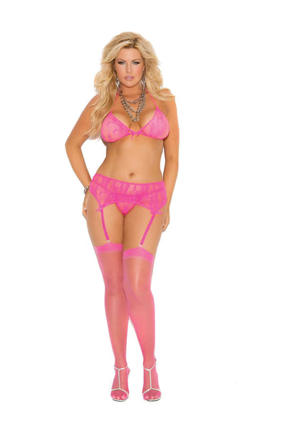 Plus Size Stretch lace halter bra, garter belt and g-string with satin bow  detail  Neon Pink