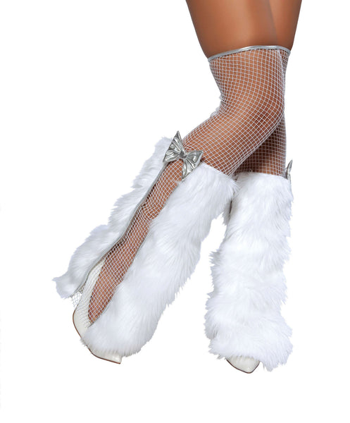 Thigh High Fishnet Stockings w/Fur & Bow Detail
