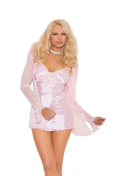 Three piece set Satin babydoll with mesh bow, heart rhinestone  pin, adjustable straps and matching g-string Mesh long sleeve  coat included  Baby Pink