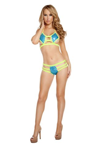 Triple Strapped Diamond Shaped Short Set - Turquoise/Yellow