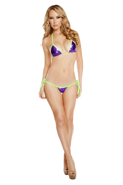 Two Tone Tie Side Low Rise Bikini Set - Purple/Lime