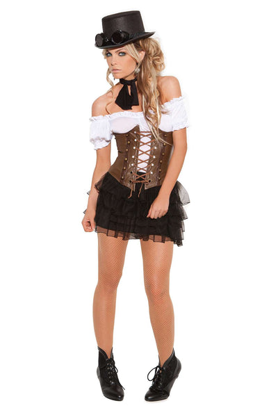 Underbust corset with lace up front detail, boning and velcro back  closure  Brown