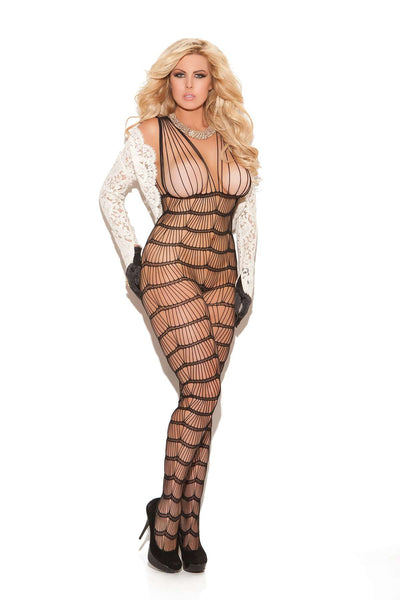 Vertical striped bodystocking Black Queen Size