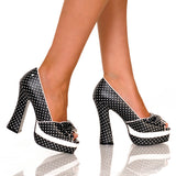 "5""Open Toe Chunky Heel Platform With Polka Dot Upper-Black Polka Dot-WISHES-11"