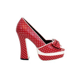 "5""Open Toe Chunky Heel Platform With Polka Dot Upper-Red Polka Dot -WISHES-11"