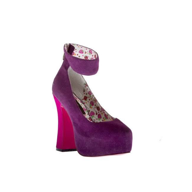 "5""Chunky Heel Platform With Ankle Strap-Purple Velvet PU-WISHES-21"