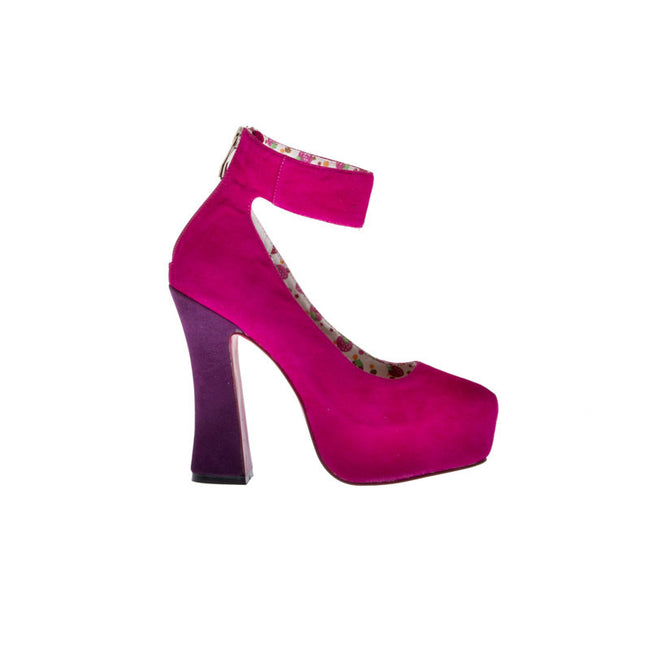 "5""Chunky Heel Platform With Ankle Strap-Pink Velvet PU-WISHES-21"