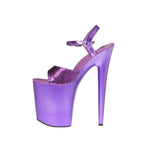 "8"" Platform With Glitter Upper And Qtr Strap"