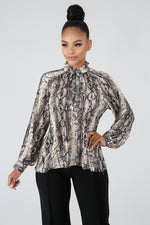 Accordion Sassy Blouse BROWN