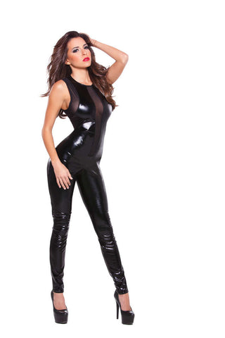 Kitten Wetlook And Mesh Catsuit - Fashion