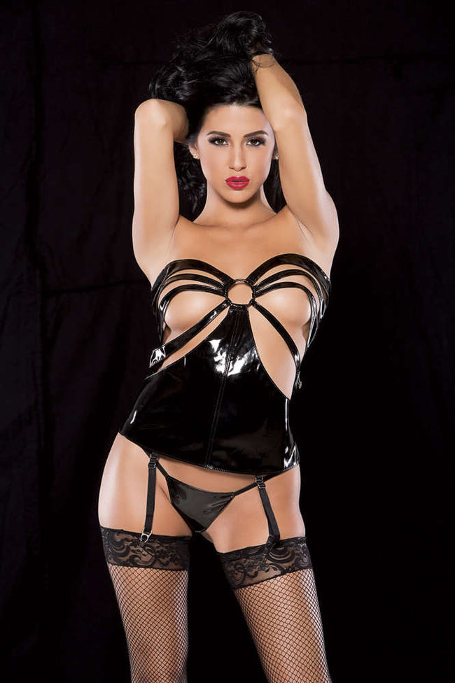 Noir Vinyl Lace Up Corselette - Fashion