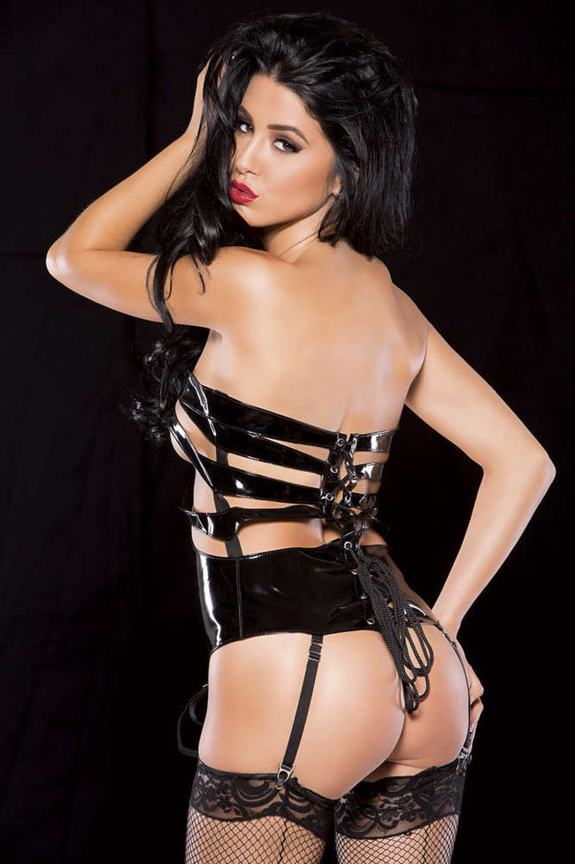 Noir Vinyl Lace Up Corselette - Females Fashion