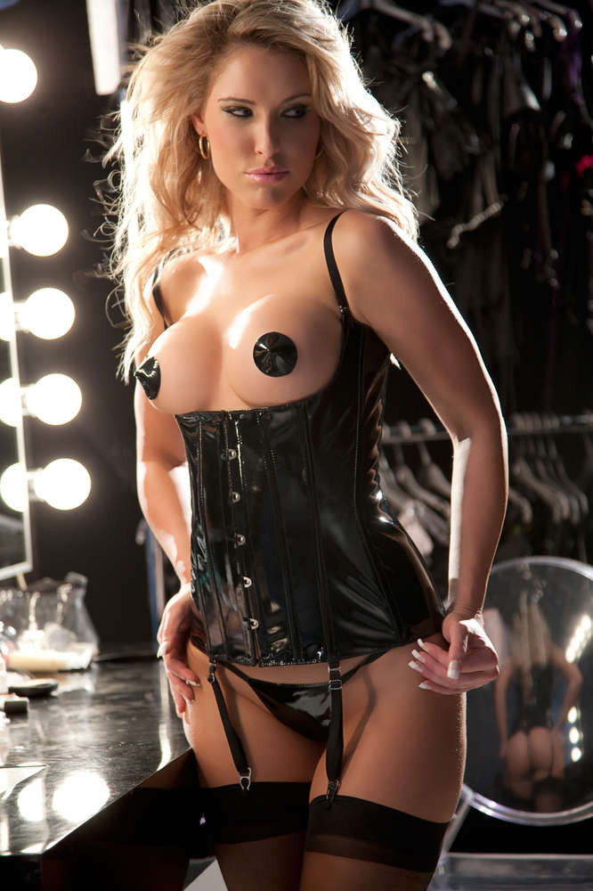 Sara S Sultry Vinyl Corset - Fashion
