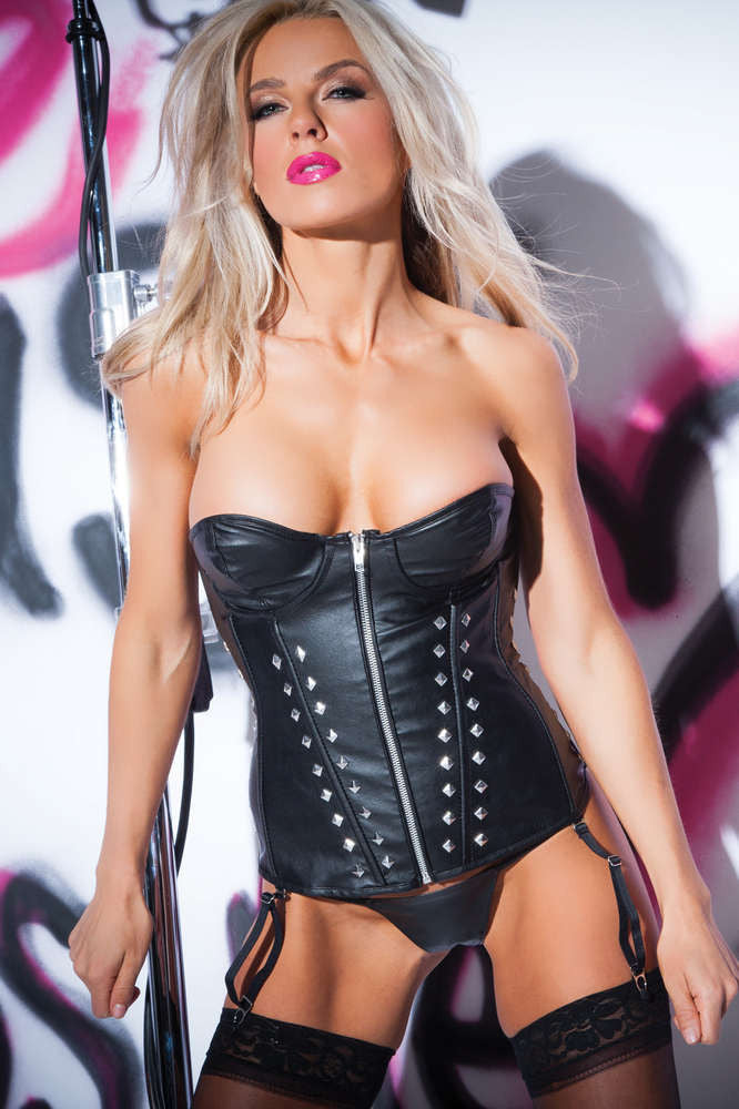 Faux Leather Studded Corset - Fashion