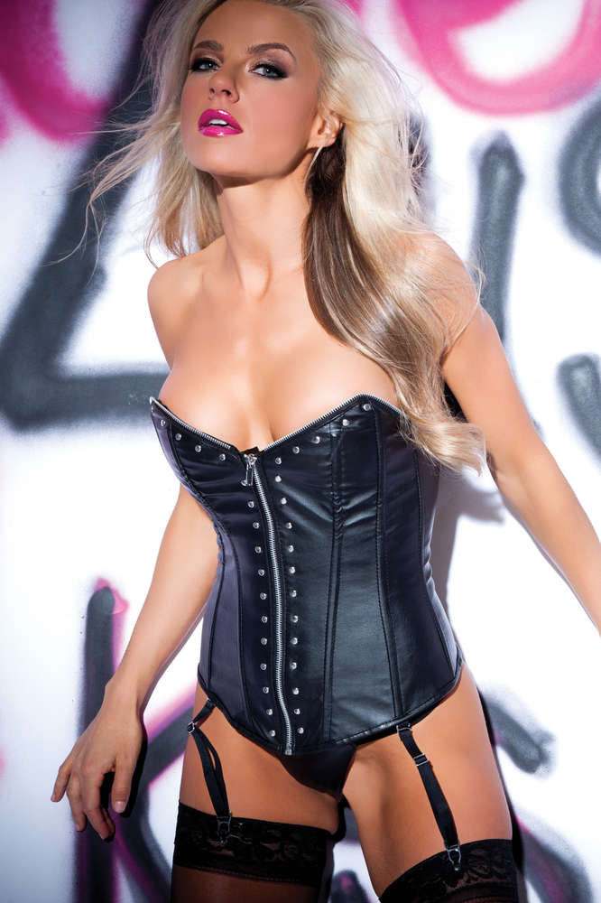Faux Leather Zip And Rivet Corset - Fashion