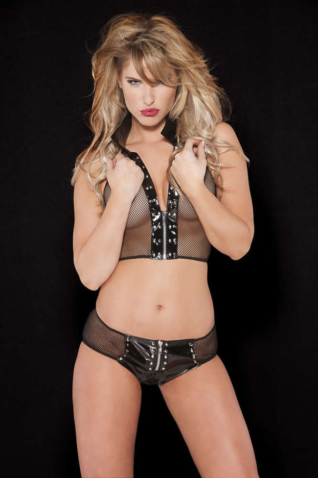 Noir Vinyl And Fishnet Bustier And Shorts Set - Females Fashion