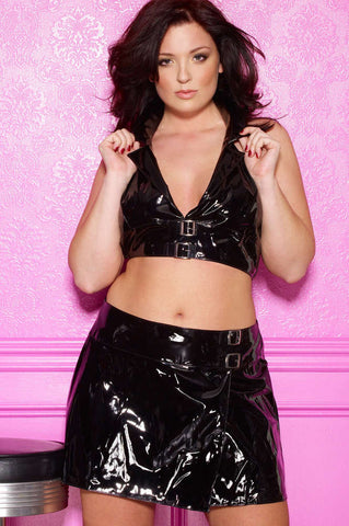 Plus Size Vinyl Skirt - Fashion