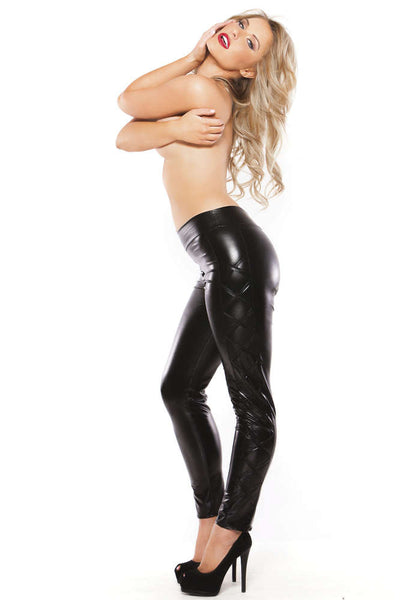 Kitten Wetlook Tights - Fashion