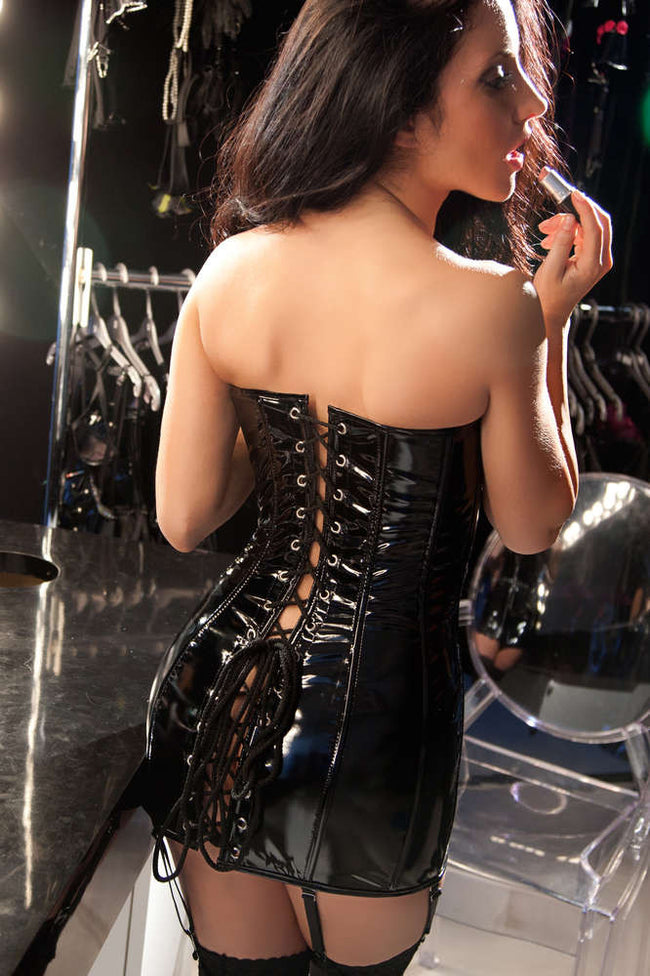 Vinyl Corset Dress - Females Fashion