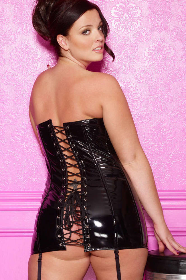 Plus Size Vinyl Corset Dress - Females Fashion