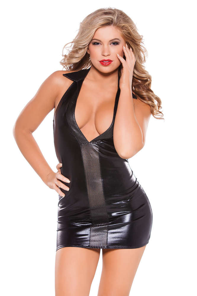 Kitten Wetlook And Faux Leather Dress - Fashion